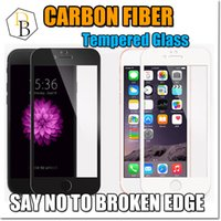 Wholesale Soft Glass Wholesale - New Iphone 7 Carbon Fiber Soft Edge Tempered Glass I7 plus screen Protector Iphone 6s Full Screen Film Anti Scratch 2.5D Curved