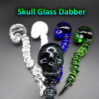 Wholesale Skull Nail Designs - Latest Design Curved Skull Glass Dabber With 5 Colors 4.6 Inches length Glass Dabbers With Carb Cap Function For Quartz Bangers Nails