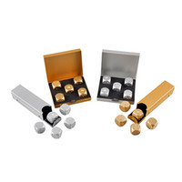 Wholesale Portable Poker - 5 dices Set High Quality Aluminium Alloy Poker Dice Silver Gold Portable Dominoes Metal Dice Party Drinking Game Dice