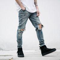 Wholesale Hip Hop Jeans Brands - Wholesale-mens Strech ripped biker jeans skinny Distressed kanye west designer distrressed brand hip hop streetwear swag pants
