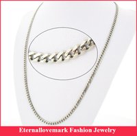 Wholesale Wholesale Women Cuban Link Chain - Wide 4.6mm Stainless steel cuban link chain necklace fashion jewelry for men and women MJBSN-028