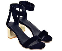 Wholesale thick heel ankle strap - high quality~b101 34 40 black genuine leather silver thick heel ankle strap sandals shoes runway fashion women