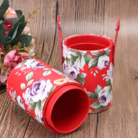 Wholesale Makeup Brush White Leather - PU Leather Floral Print Multifunction Empty Portable Makeup Brush Pen Holder Cup Cylinder Cosmetic Brush Storage Case Organizer