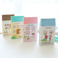 Wholesale art erasers - Wholesale-2pcs lot stationery cute little house eraser drawing color art students painting rubber School Supplies