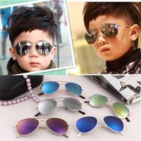 gafas de sol reflejadas al por mayor-2016 Summer Children Reflect Light Stylish Kid Vintage Goggles Boy Gafas de sol de colores Anteojos Adumbral Oval Uvioresistant