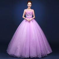 Wholesale Violet Gowns - Robe De Soiree New Fashion Sweet Violet Lace Flower Scoop A-line Long Prom Dress Banquet Elegant Party Gown Quinceanera Dresses