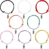 Wholesale Hawk Bracelet - Multi Colors Wax Cord Hawk Shape Silver Plated Pendant Bracelets Optional Colors Fashion Charms Gift Accessories