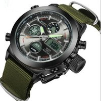 Wholesale Wholesale Stop Watch - Fashion Army Cool Men Military Watch Canvas Strap Hours Steel Case 30ATM Waterproof Stop Watches Sports Casual LED Digital Clock mix color