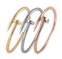 Wholesale Invisible Nails - Stainless Steel Nail Style Love Gold Plated Bangle Bracelet free shipping