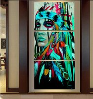 Wholesale Native American Fashions - 2017 3pcs Abstract Print The Indians feathered home decor Canvas Print Native american girl Painting Wall Art Picture