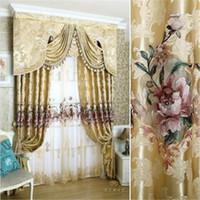 cortinas brancas de cachoeira venda por atacado-New Curtains For Dining Living Bedroom Room 1pc curtain + 1pc Tulle Custom luxury European water soluble embroidery screens