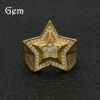 New Arrival Hiphop Star Rings For Men Brand Design Full Diamond Hip Hop Anel 18K banhado a ouro Jóias de festa de luxo