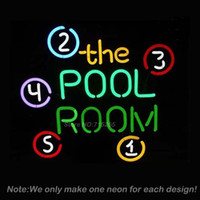 Wholesale Neon Pool Balls - Wholesale- POOL ROOM 8 BALLS BILLIARDS Neon Sign Beer Bar Pub Store Display Decorate Neon Bulb Recreation Room Neon Sign Store Display16x16