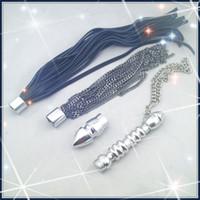 Wholesale Plug Whip - Multifunction whip kits anal plug metal dildo cow leather flogger metal kurbash spanking whip sex toy adult product