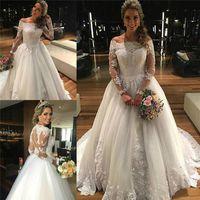 Wholesale Dramatic Train Wedding Dress - Dramatic Long Sleeve Lace Wedding Dresses Sheer Arbic Tulle Train Vintage Winter Scoop 2016 Bridal Dresses Ball Gowns Vestidos De Noiva