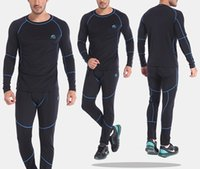 Wholesale High Quality Thermal Long Sleeve - Wholesale-New Fashion High Quality Men Thermal Underwears Sports Apparel Winter Warm Hot-Dry Technology Surface Long Johns Outdoor Suit