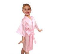 vestidos de cetim de casamento venda por atacado-Crianças cetim rayon robe quimono robe crianças camisola para festa de aniversário de casamento spa