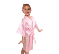 Wholesale Kids Kimonos - Kids Satin Rayon Solid Kimono Robe Bathrobe Children Nightgown For Spa Party Wedding Birthday