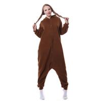 Wholesale Fleece Sleepwear Women - 2017 Cute Foolish Bear Animal Pajama Women Hooded One Piece Sleepwear Fleece Full Sleeves Pyjama Set Home Wear Unisex