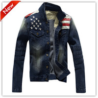 Wholesale preppy men clothing - Fall-2016 Hot Fashion Jeans Men Denim Jacket Men's Preppy Style Tops Coat American Flag Cow Boy Man Jacket Male Clothes Free shipping