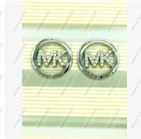 Wholesale Charms Letters M - New Style Women Round-shaped Smooth Earrings Charm Ear Stud Jewelry Newest Jewelry electroplated Round hollow letter M Earring