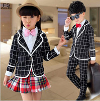 Wholesale Coat Bow Tie - 2016 Baby Boys Girls Formal Clothing Suit Europe United 3Pcs Sets(Coat+T-shirt+Pant)Kids Bow-tie Causal Clothing Suit Kid Cotton Sets