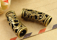 Wholesale Scarf Charms Tubes - A3821 20*8*5MM Popular DIY accessories antique bronze filigree big hole beads for jewelry making, tube scarf charm pendants for leather rope