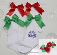 Wholesale Girl Socks Ribbons - CHRISTMAS SOCKS ! White Baby Girls socks + Girls 3 4 Knee High Socks Satin Bow Ribbon pom pom hair clip set .fit 0-6Years girls .6set