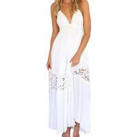 Wholesale Long Cotton Sundresses Women - S5Q Women's Sexy Summer Long Maxi Evening Party Dresses Backless Beach Sundress AAAFZL