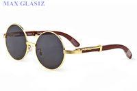 Wholesale boxed eye glasses resale online - sunglasses men women wrapeyeglasses round shades brand sun glass designer wood full frame eyeglasses high quality UV400 with box cases