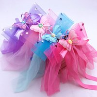 Wholesale Butterfly Crystal Hair Clip - Crystal hair bands headbands Children's hair bands Baby hair clips bows Gauze butterfly flower girls headdress Flower girl hair accessories