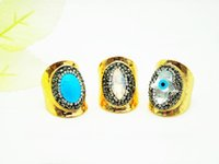 Wholesale Turquoise Jewelry Men Ring - Wholesale 3 PCS Natural Turquoise Gem Opening Ring,Blue Eyes Palm Gold Plating Ring,Men and Women Fashion Jewelry