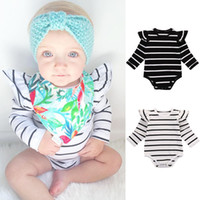 Wholesale Children Striped Long Sleeve - 2016 Newborn Infant Baby Boy Girls Bodysuit striped white black girls Romper fashion long sleeve Jumpsuit children Clothes top Outfits 0-18M