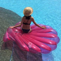 Wholesale Pink Floating Pearls - Giant Pink Inflatable Shell Pool Float New Summer Water Air Lounger For Women Clamshell With Pearl Scallop Broad