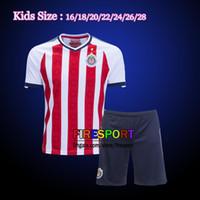 Wholesale Kids Football Uniforms Set - Mexico Club Camiseta de futebol 2017 Chivas de Guadalajara Kids Kits Youth Boy Soccer Jerseys 17 18 sets with Shorts uniform Football Shirts