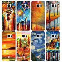 Wholesale Scenery Trees Painting - Oil Painting Soft TPU Cases Tree Woman Colorful Scenery Sunset Setting Sun For Samsung Galaxy S7 Edge Plus G930 G9300 G9350 Cover Luxury