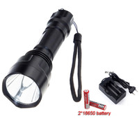 Wholesale rechargeable cree bike light online - C8 Cree XM L T6 LED LM Mode Flashlight Torch light bike light headlight Rechargeable battery Charger