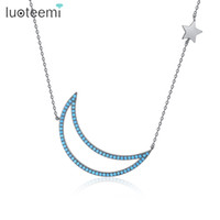 Wholesale Unique Moon Necklaces - LUOTEEMI New Arrival Unique Jewelry Inlay Blue CZ Gun Black Moon Necklace Simple Link Chain Collar for Women Girl Party