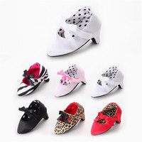 Wholesale Baby Girl High Heels - Fashion Baby Gisl High Heeled Shoes Butterfly-know Bow Soft Soled Newborn First Walkers Toddler Infant Girl Ballet Shoes