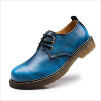 Atacado- ERRFC Men Blue Oxford Shoes Moda Round Toe Lace Up Brush Cores Lazer Leather Work Shoes Zapatillas Plus Size US6-13