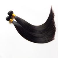 cheveux remy péruvien 5pc achat en gros de-Cheveux vierges brésiliens péruviens non transformés tissés 5pc / lot, couleur naturelle et noir # 1 # 1b 8-30 pouces de trame de cheveux humains Remy indiens en stock