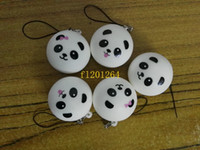 sacs d'expédition jumbo achat en gros de-5pcs Livraison gratuite 4cm Jumbo Panda Squishy Charms Kawaii Brioches Pain Téléphone Portable Clé / Sac Sangle Pendentif Squish
