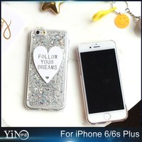 Wholesale Cover Follows - Fashion Bling Sparkle Crystal Silicone Case For iPhone 6 6s Diamond Laser Lover Heart Ice cream Cover Case Follow Your Dream 100pcs lot