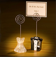 Wholesale Table Seat Wedding Wholesale - Seat Clip European Style Bride And Groom Shape Table Card Note Message Clips Creative Wedding Ceremony Gifts 2 8yka F R