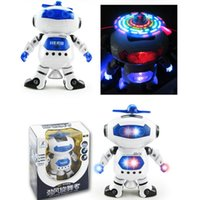 Wholesale White Robot Toy - Cute Mini Hyun dance robot Electric Dancing With Light Music Musical Robot Action Figure Toy Model For Children Kids