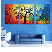 Wholesale Abstract Canvas Art 3pc - Hot Sell 3 Piece Rich Tree Canvas Modern Triptych Wall Painting Money Tree Home Decorative Art Picture Paint on Canvas Prints 24in*16in *3pc