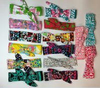 Wholesale Head Ribbons For Baby Girls - Geometric Pattern Print Knot Cross Baby Girls Hairband Rabbit Ear Bowknot Headband Cotton Head Band 13 colors for Kids Girls KB455