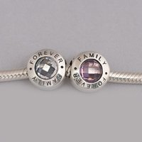 Real 925 Sterling Silver Family Forever Charm, Clear CZ e Pink CZ Black Enamel Fit Bracelet Diy Jewelry Making