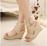 Wholesale City Ties - Sale Bohemian city classified natural look ankle strappy straw braided wedges heel classic 3 colors