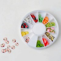 Wholesale Wheel Box Nail - 1 x Box Of Nail Tips 12 fruit styles Polymer clay nail art piece 6 cm Wheel Nail Art Decoration Random Color